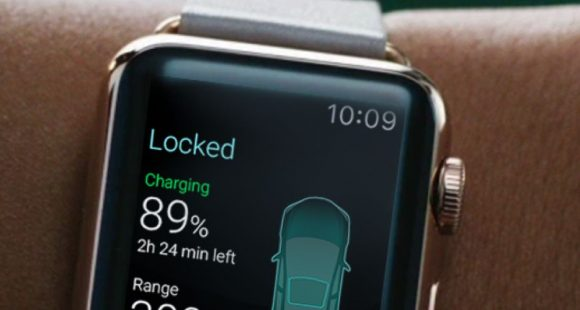 apple watch tesla car