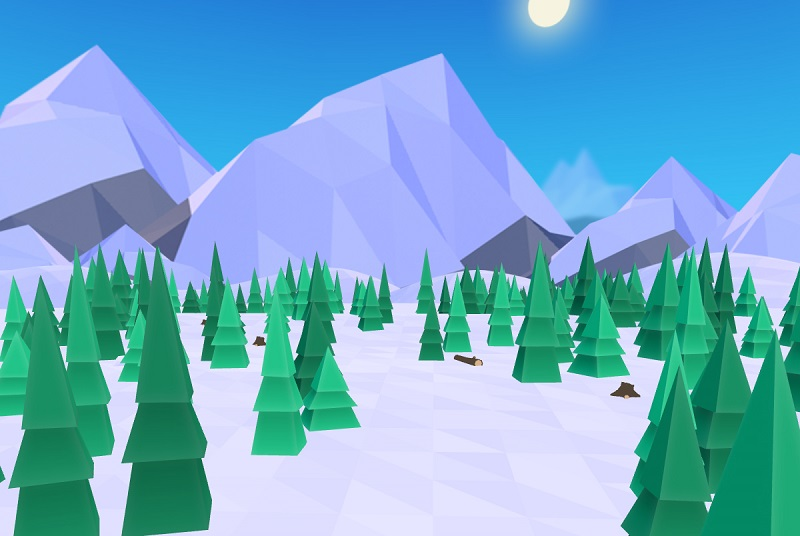 VR game relief with trees