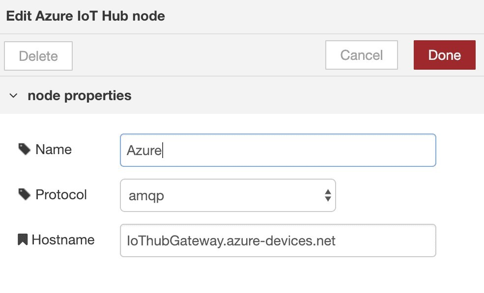 Node-Red Azure IoT hub node properties