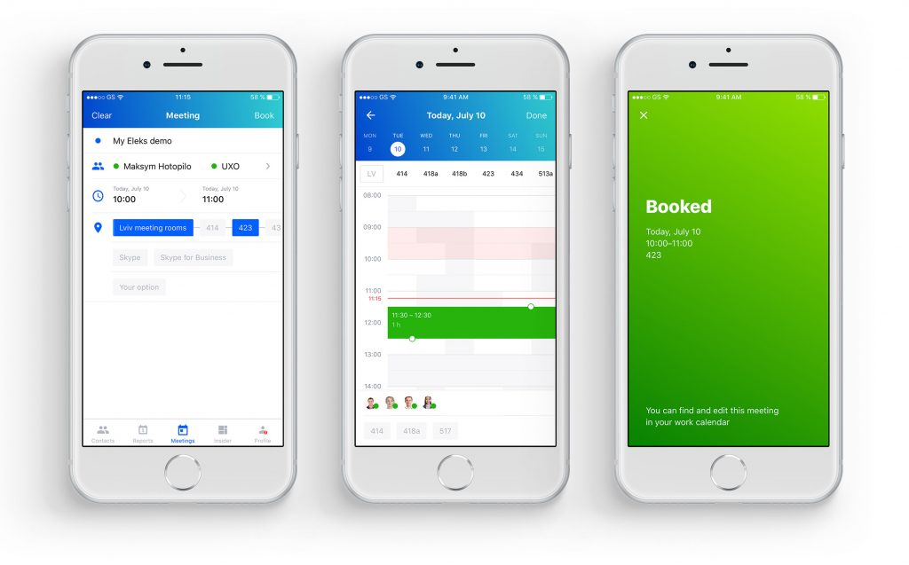 Functionality for instant meeting scheduling and room booking